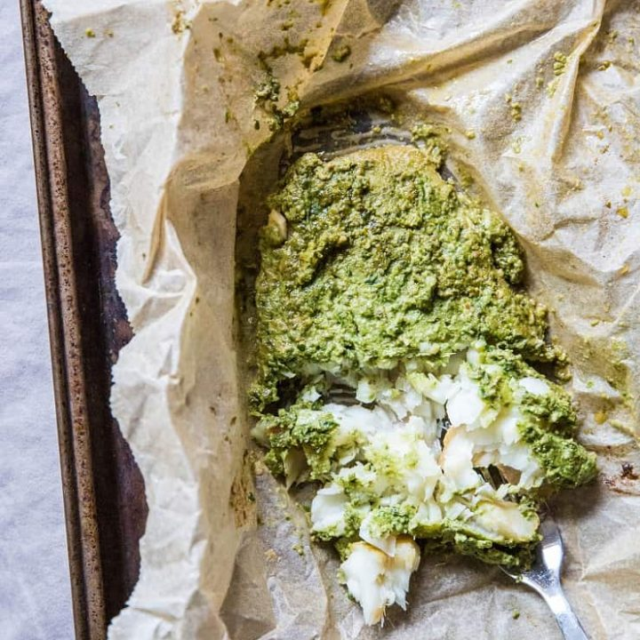 Fish en Papillote (fish in parchment paper) with Arugula-Pepita Sauce - a clean, healthy paleo whole30 keto dinner recipe | TheRoastedRoot.net