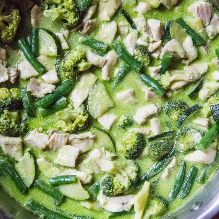 Fish Green Curry with Vegetables - an easy 30-Minute curry recipe with whitefish, broccoli, zucchini, and green beans | TheRoastedRoot.net