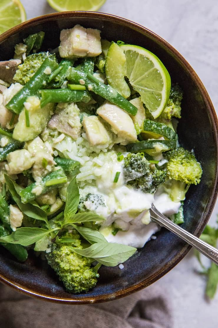 Fish Green Curry with Vegetables - an easy 30-Minute curry recipe with whitefish, broccoli, zucchini, and green beans   TheRoastedRoot.net