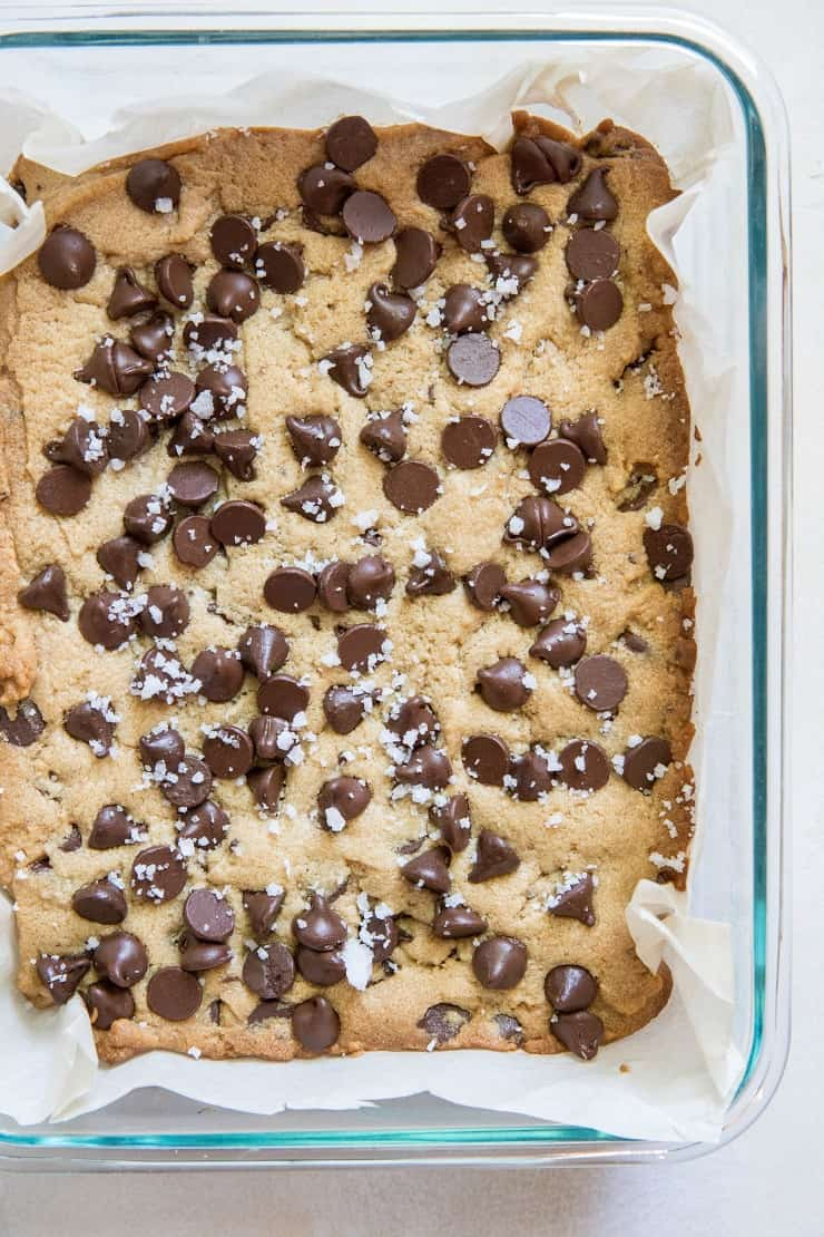 Gluten-Free Peanut Butter Chocolate Chip Cookie Bars made with gluten-free flour and coconut sugar | TheRoastedRoot.net