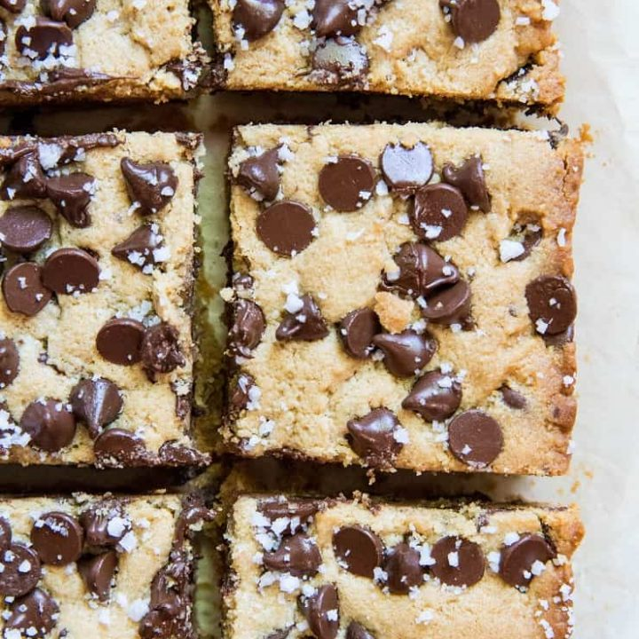Gluten-Free Chocolate Chip Cookie Bars with sea salt - refined sugar-free, gluten-free and completely delicious | TheRoastedRoot.net
