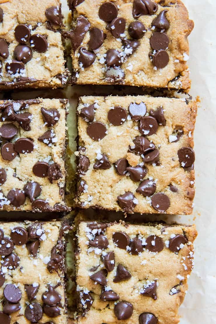 Gluten-Free Chocolate Chip Cookie Bars with sea salt - refined sugar-free, gluten-free and completely delicious   TheRoastedRoot.net