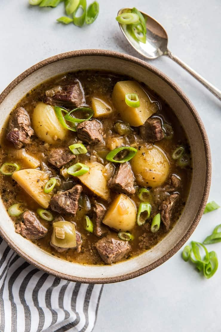 Super quick and easy Instant Pot Beef and Potato Stew | TheRoastedRoot.net #glutenfree #paleo