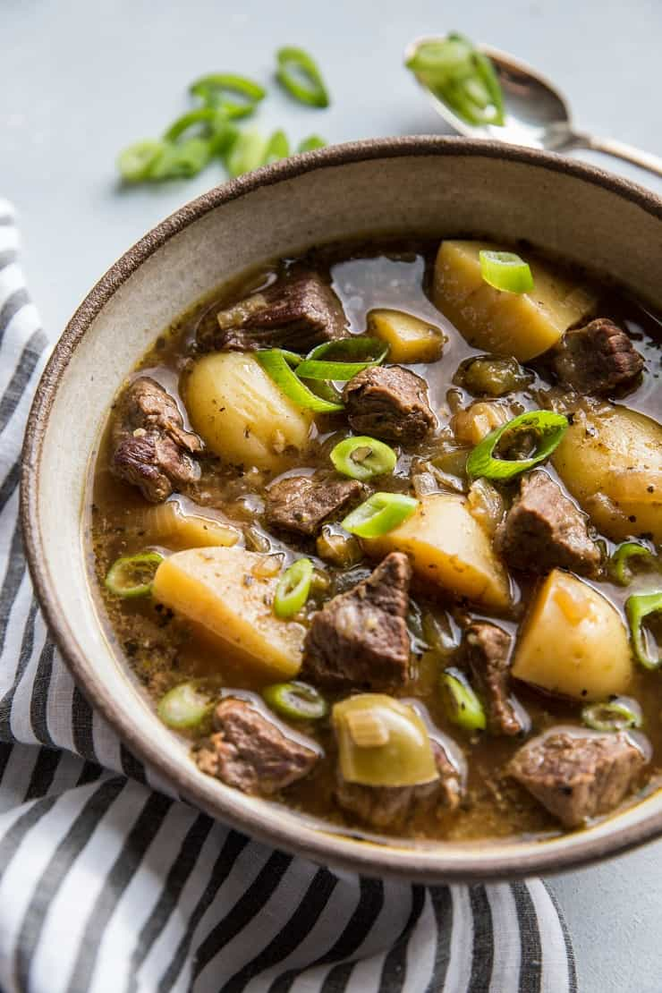 Easy Instant Pot Steak and Potato Soup - a paleo, gluten-free beef stew recipe with potatoes | TheRoastedRoot.net