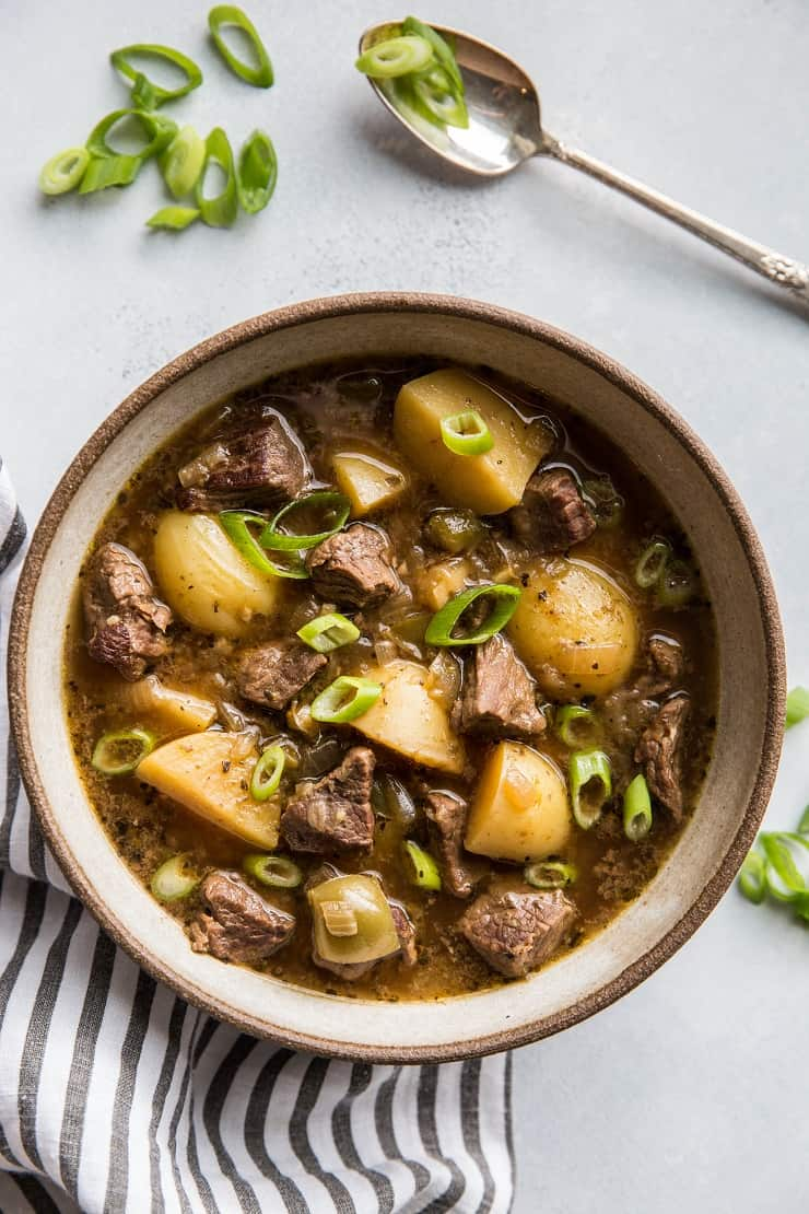 Instant Pot Steak and Potato Soup - a super easy and comforting beef stew recipe | TheRoastedRoot.net #paleo