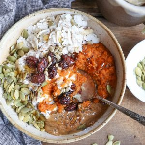 Pumpkin Brekafast Bowls - healthy vegan breakfast bowl made with fresh roasted pumpkin, coconut yogurt and almond butter for a healthy way to start the day | TheRoastedRoot.net