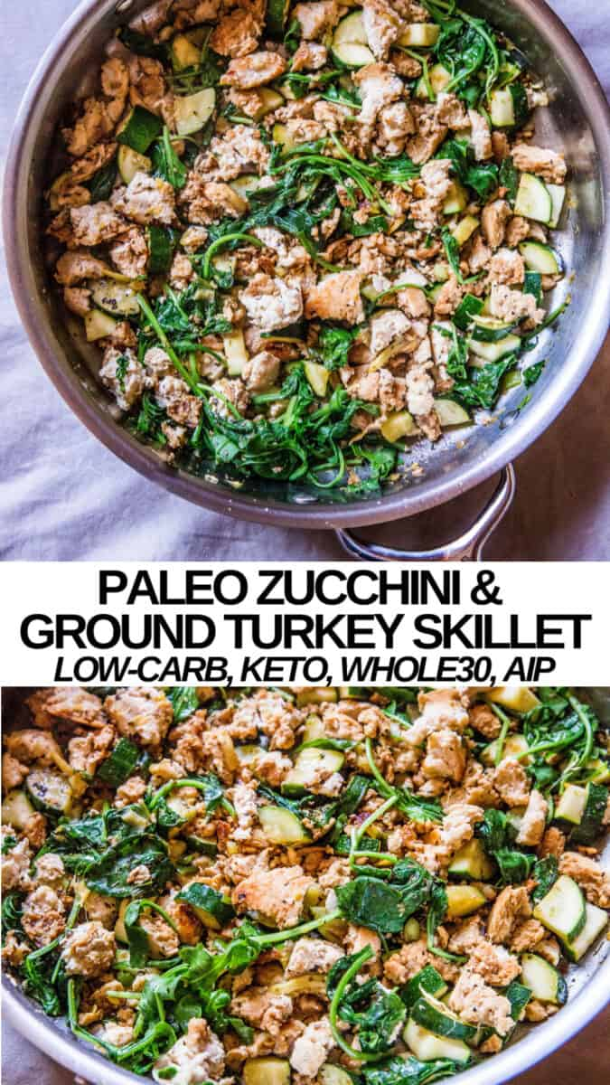 Paleo Ground Turkey and Zucchini Skillet - whole30, AIP, keto, low-carb, easy dinner recipe