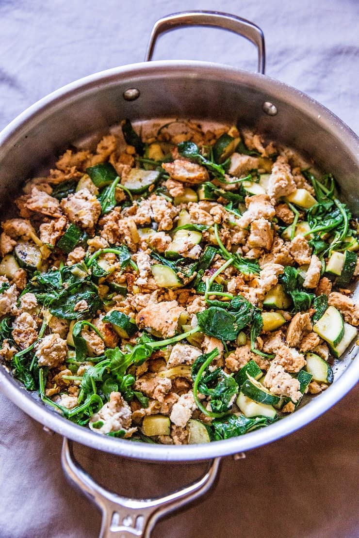 Zucchini and Ground Turkey Skillet with spinach and ginger - an easy paleo, whole30, AIP, keto dinner recipe