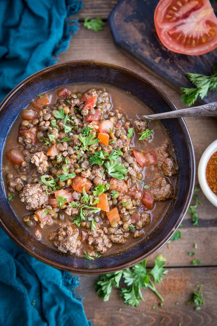 Beef and Lentil Chili - Beanless chili made with ground beef, lentils and vegetables for a hearty, delicious meal | TheRoastedRoot.net