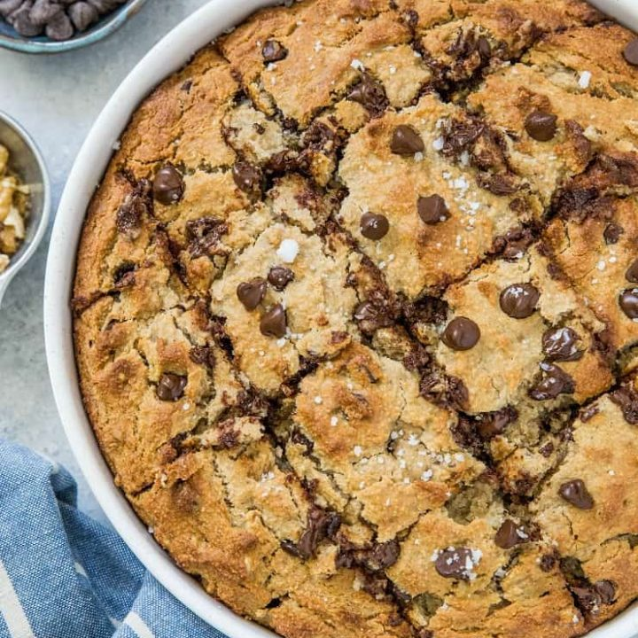 Chocolate Chip Walnut Grain-Free Banana Cake - moist, fluffy, naturally sweet and delicious! A paleo cake recipe healthy enough to eat for breakfast | TheRoastedRoot.net