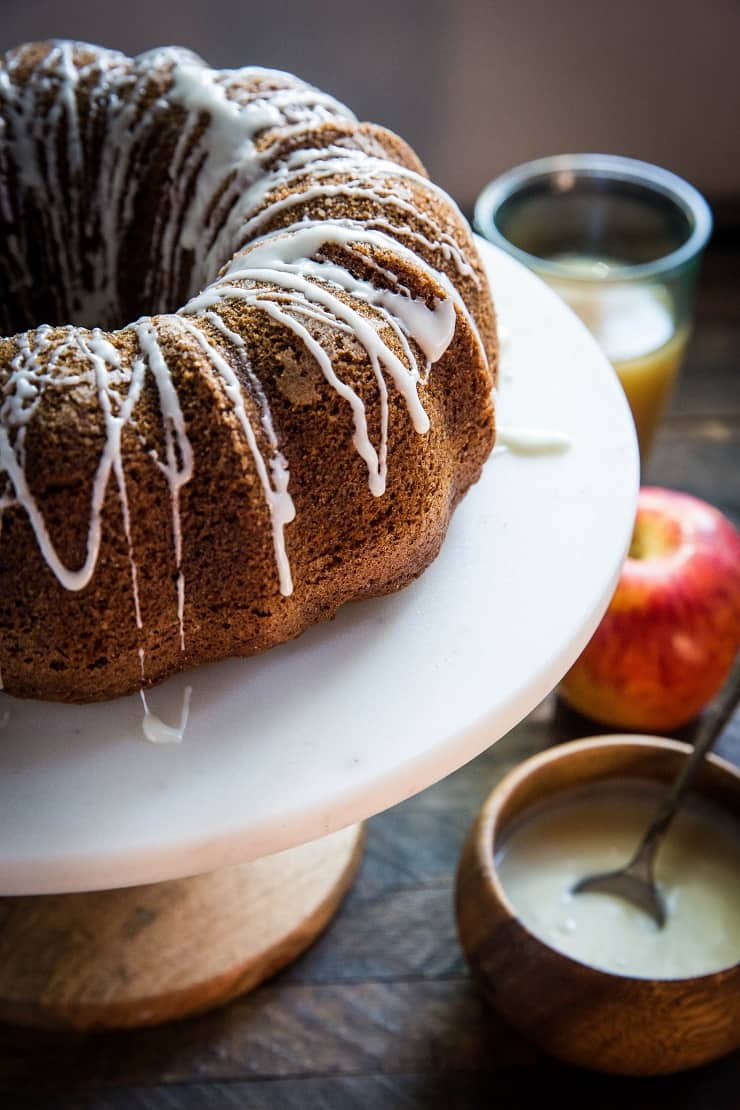 Gluten-Free Apple Bundt Cake with glaze - gluten-free, refined sugar-free and dairy-free cake recipe | TheRoastedRoot.net
