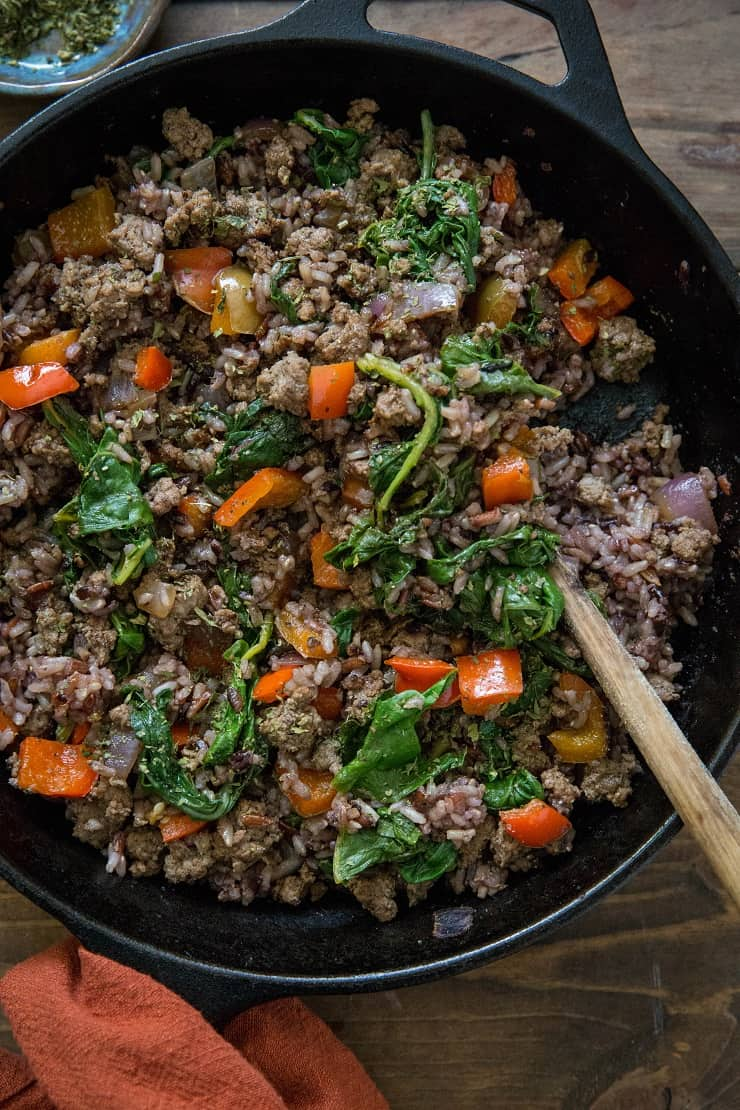 One-Skillet Ground Beef and Wild Rice with Rainbow Chard and Bell Pepper - a clean and easy dinner recipe | TheRoastedRoot.net