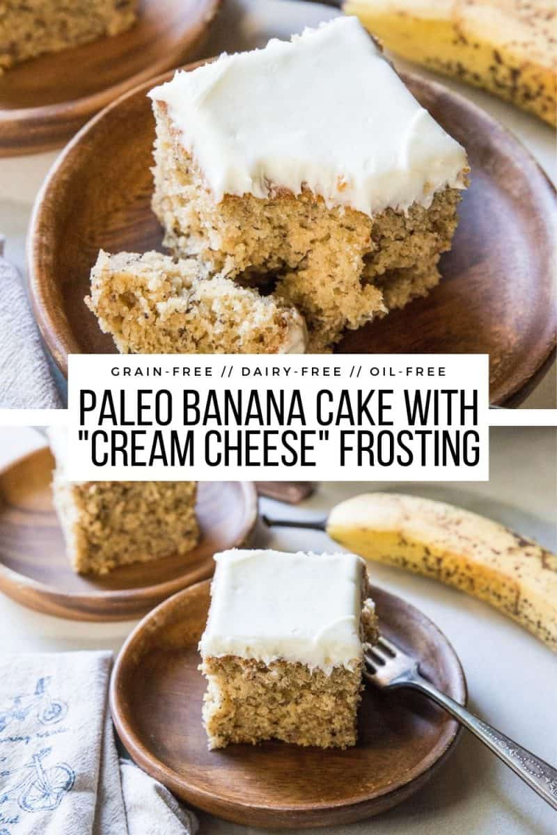 "Paleo Banana Cake with Vegan ""Cream Cheese"" Frosting is a healthy dessert or snack that is grain-free, oil-free, dairy-free, gluten-free and easy to prepare! Moist, fluffy, healthy and naturally sweet!"