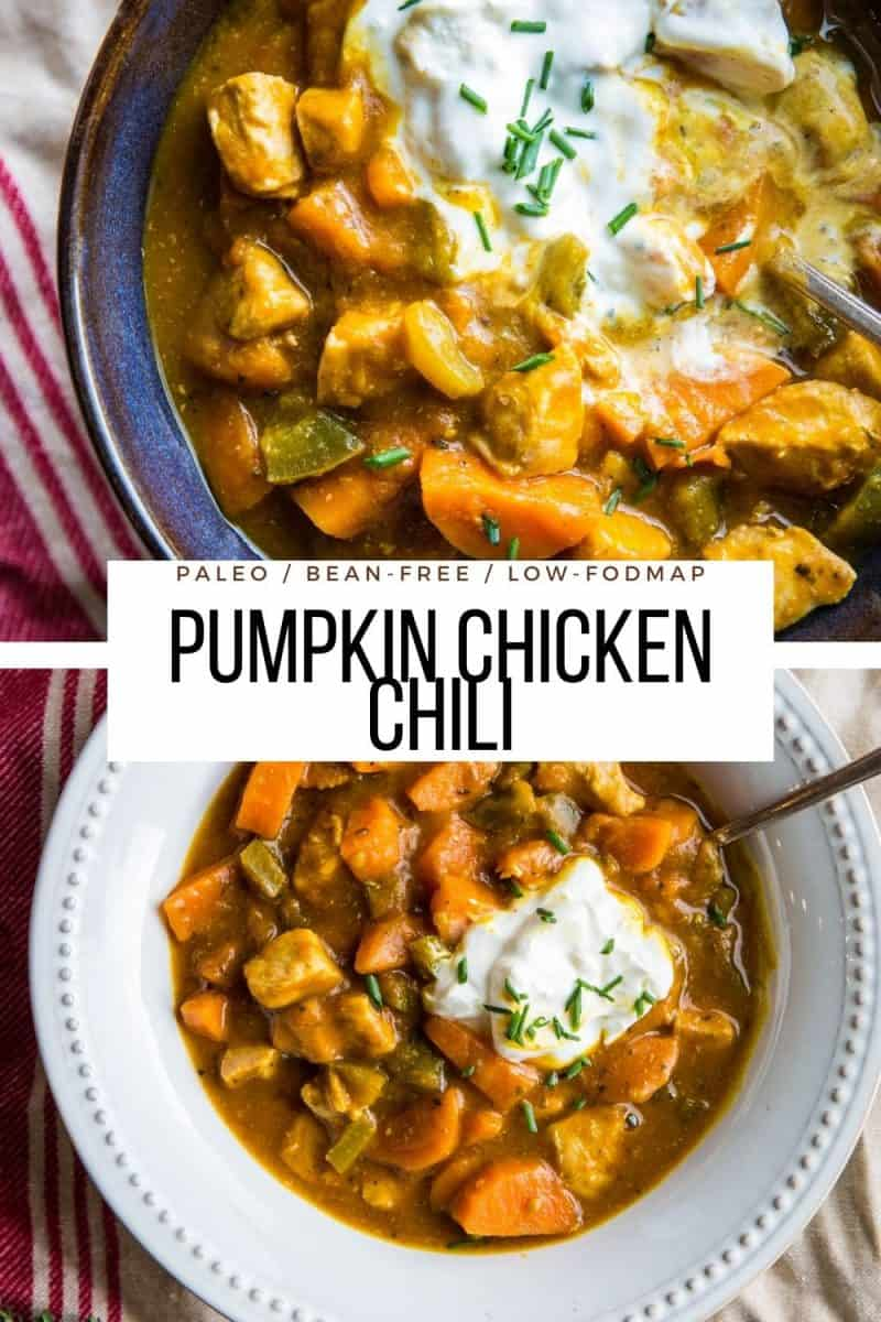 Paleo Pumpkin Chicken Chili (Low-FODMAP) - bean-free, grain-free, healthy pumpkin chili recipe made with pureed pumpkin. Low-FODMAP for a belly-friendly meal!