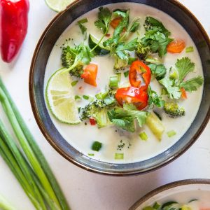 Thai Coconut Soup with Vegetables - an easy, clean soup recipe with coconut milk, lemongrass, lime juice and veggies | TheRoastedRoot.net