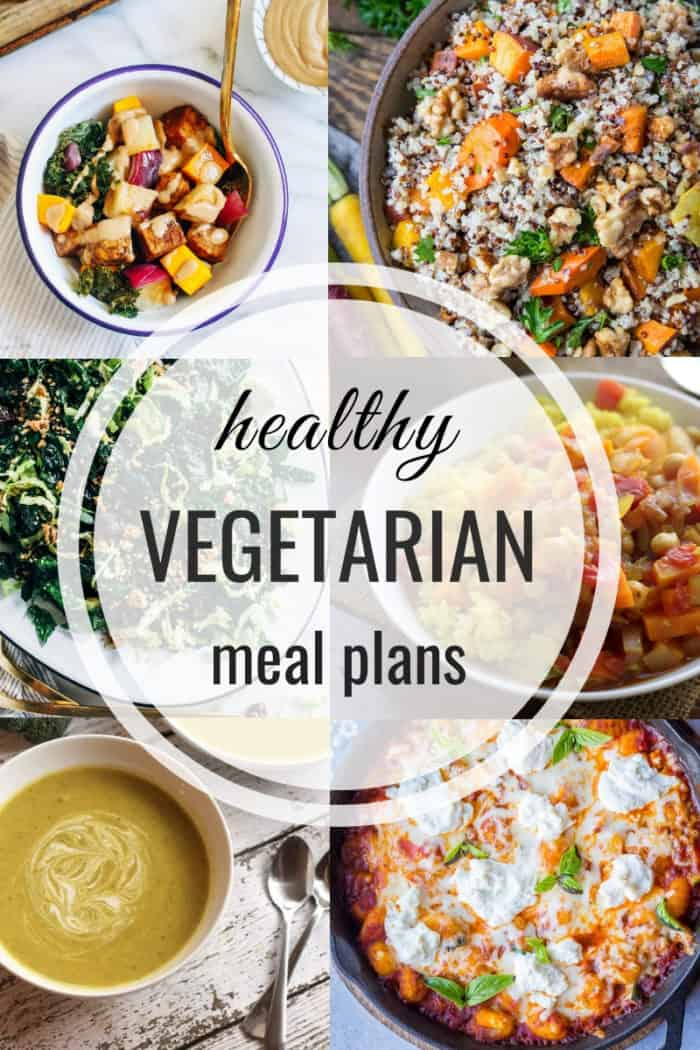 collage of vegetarian meals for a healthy vegetarian meal plan
