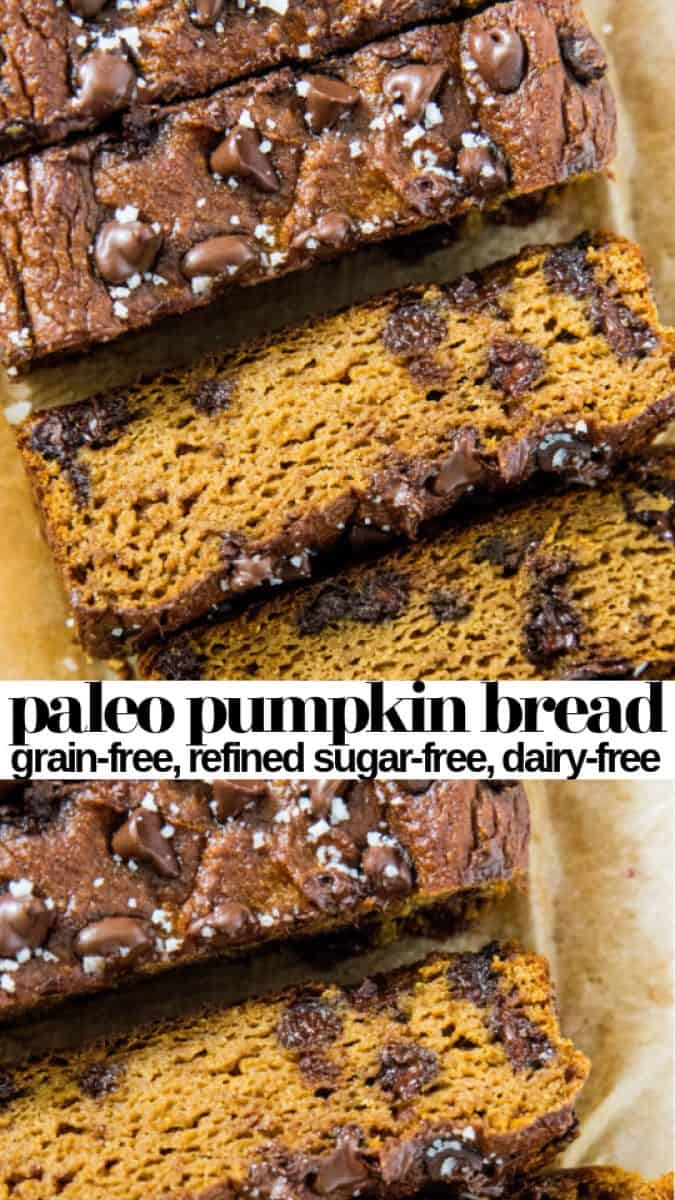 Paleo Pumpkin Bread with Chocolate Chips - made with coconut flour and sweetened with pure maple syrup for a healthy pumpkin bread recipe - grain-free, refined sugar-free, dairy-free and delicious!