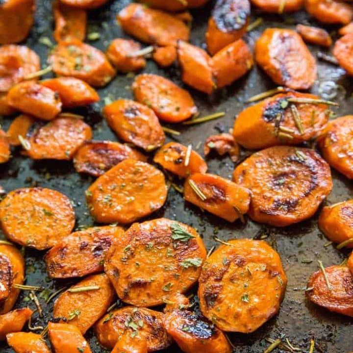baking sheet of roasted carrots