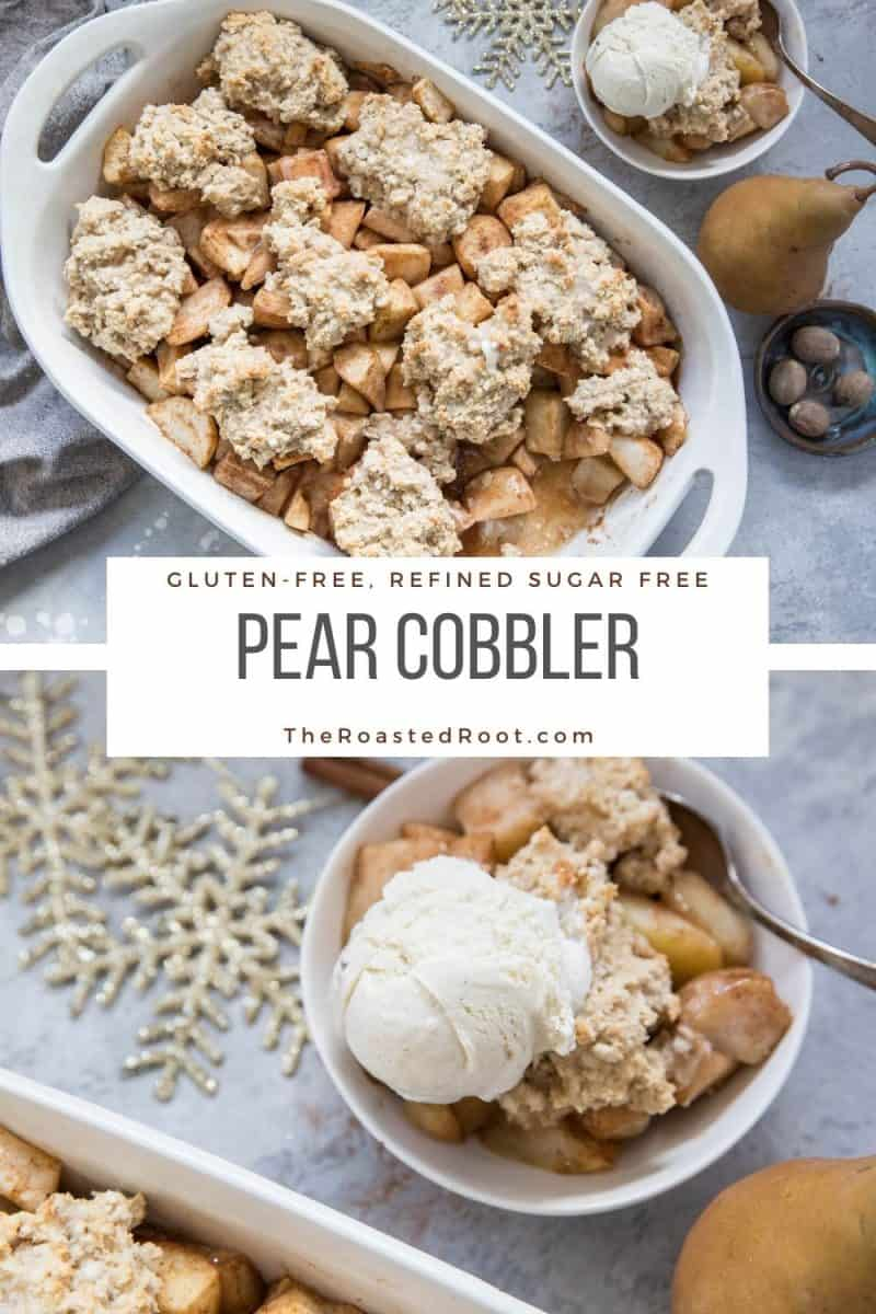 Gluten-Free Pear Cobbler - refined sugar-free and healthier version of pear cobbler. Amazing for sharing with friends and family during the holiday season!
