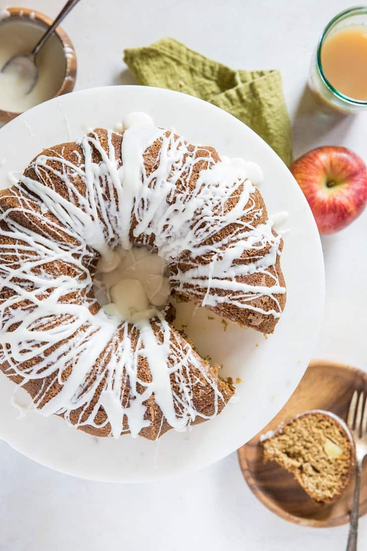 Gluten-Free Apple Bundt Cake - made with gluten-free flour and coconut sugar, this healthier apple cake is a beautiful breakfast or dessert | TheRoastedRoot.net
