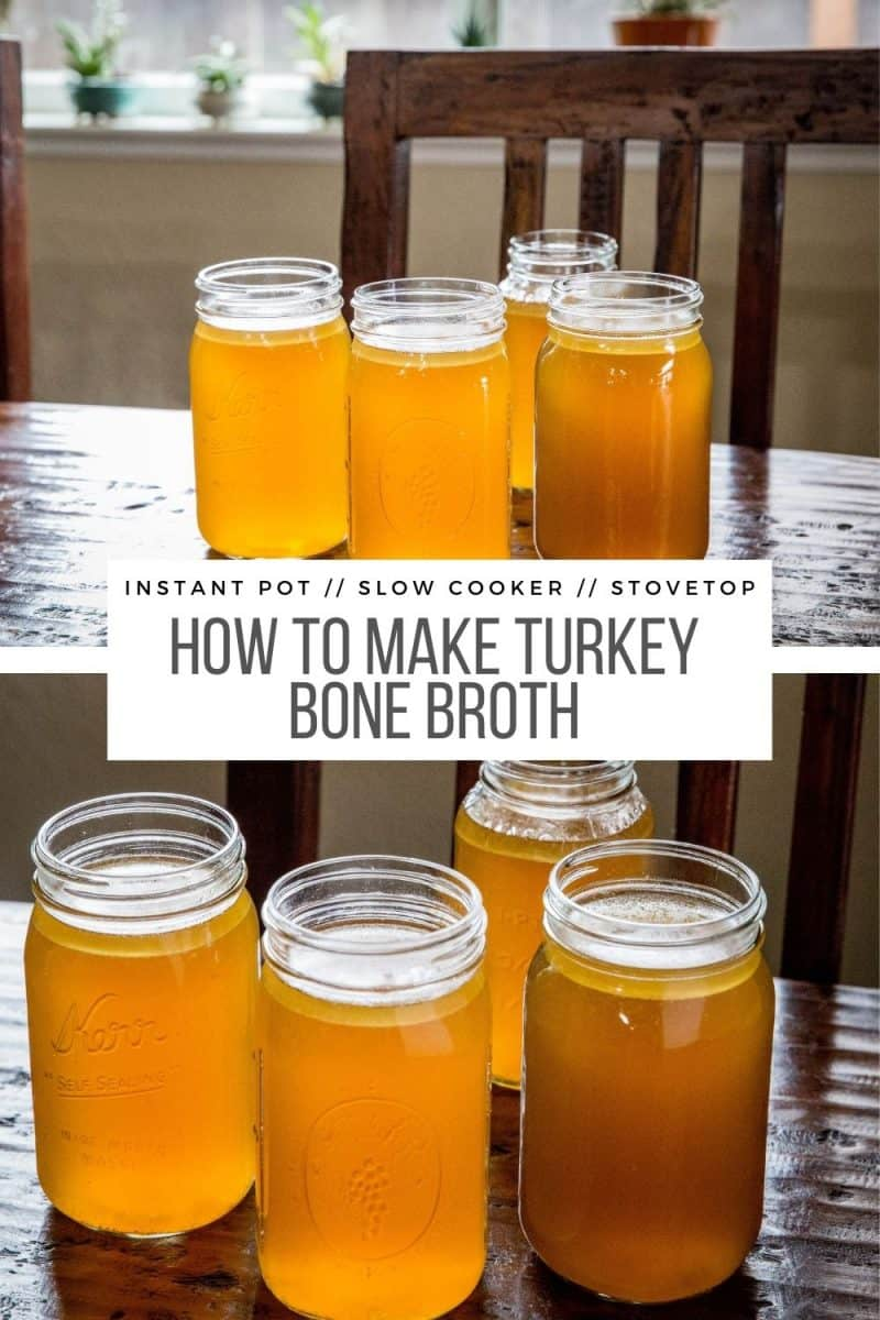 How to Make Turkey Bone Broth in the Instant Pot, slow cooker or on the stovetop - an easy tutorial on how to make THE BEST bone broth!