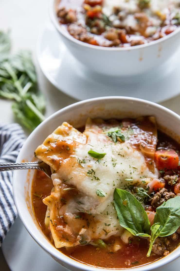 Instant Pot Lasagna Soup - a quick and easy recipe for your pressure cooker - classic lasagna turned into soup! | TheRoastedRoot.net