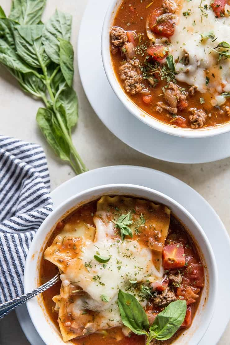 Instant Pot Lasagna Soup - a delicious mashup of classic lasagna and tomato soup! Quick and easy pressure cooker recipe | TheRoastedRoot.net