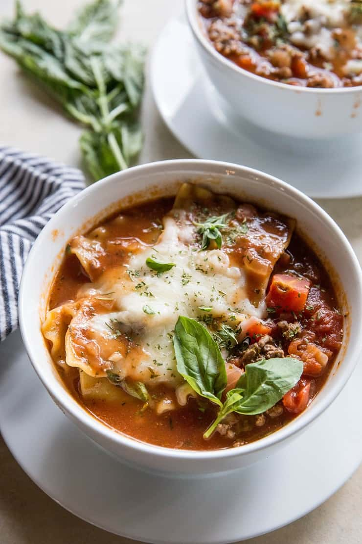 Pressure Cooker Lasagna Soup - an easy mashup of classic lasagna and soup made in your Instant Pot | TheRoastedRoot.net
