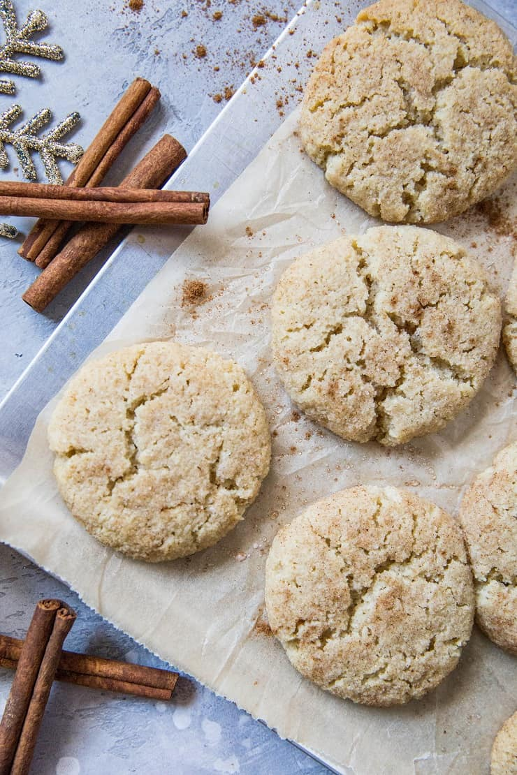 Keto Snickerdoodles are grain-free, sugar-free, dairy-free, low-carb and a healthier version of classic Snickerdoodle cookies. Made with almond flour and sugar-free sweetener.