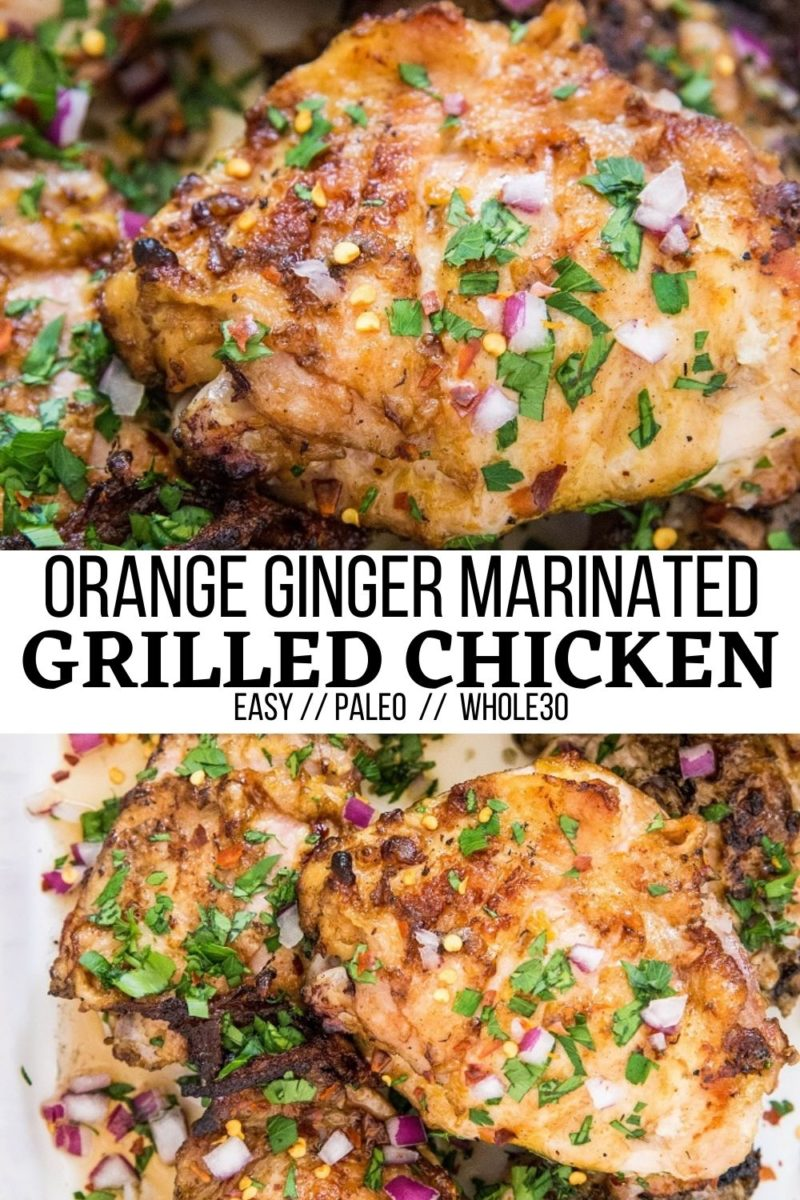 Orange Ginger Grilled Chicken - an easy grilled chicken recipe marinated with orange juice, garlic, fresh ginger, and more! Absolutely delicious and easy to make!