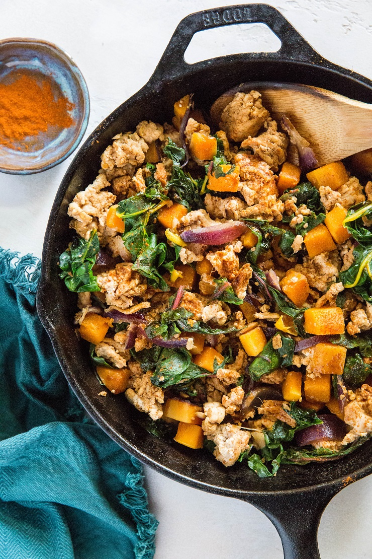 Ground Turkey Butternut Squash Skillet with rainbow chard and onions - an easy healthy dinner recipe that is paleo and whole30