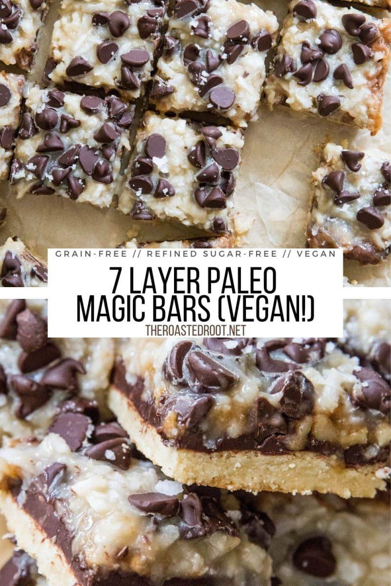 7 Layer Paleo Magic Bars - grain-free, vegan, dairy-free, refined sugar-free, healthier version than classic Magic Bars. A great holiday treat recipe!