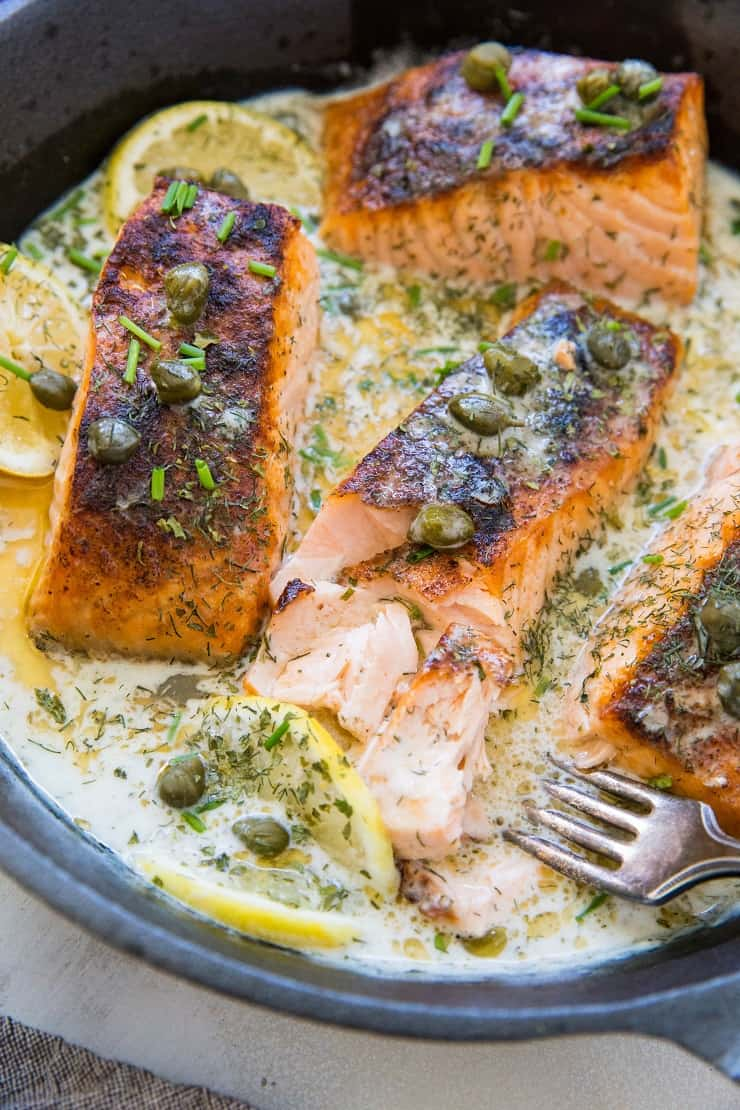 Crispy Salmon in creamy lemon dill caper sauce - dairy-free, Whole30, Keto, paleo, healthy dinner recipe!