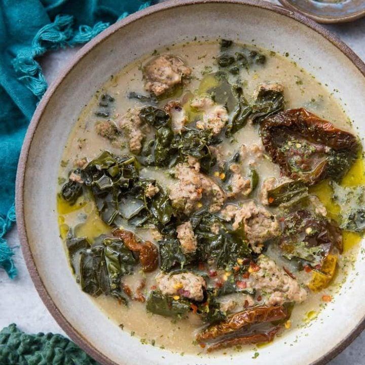 Creamy Crock Pot Sausage and Kale Soup