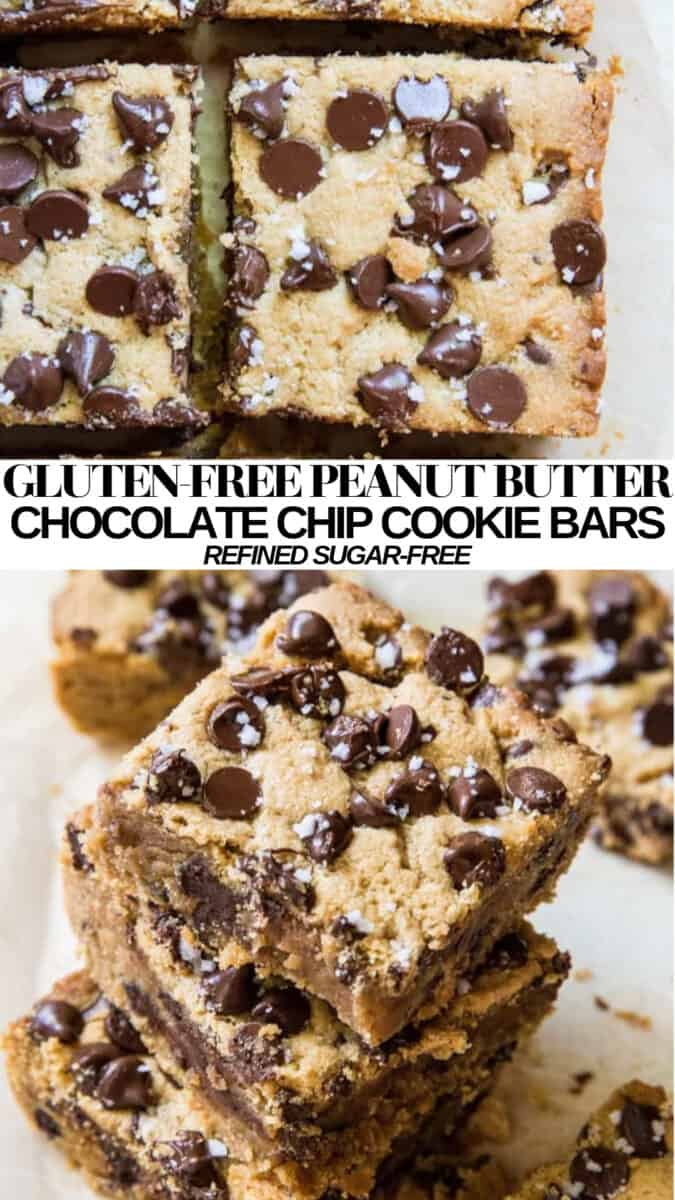 Gluten-Free Peanut Butter Chocolate Chip Bars - refined sugar-free