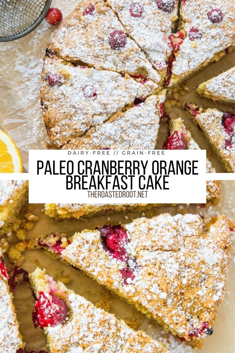 Grain-Free Paleo Cranberry Orange Breakfast Cake made with almond flour and sweetened with pure maple syrup. A healthier sweet breakfast recipe to share with friends and family!