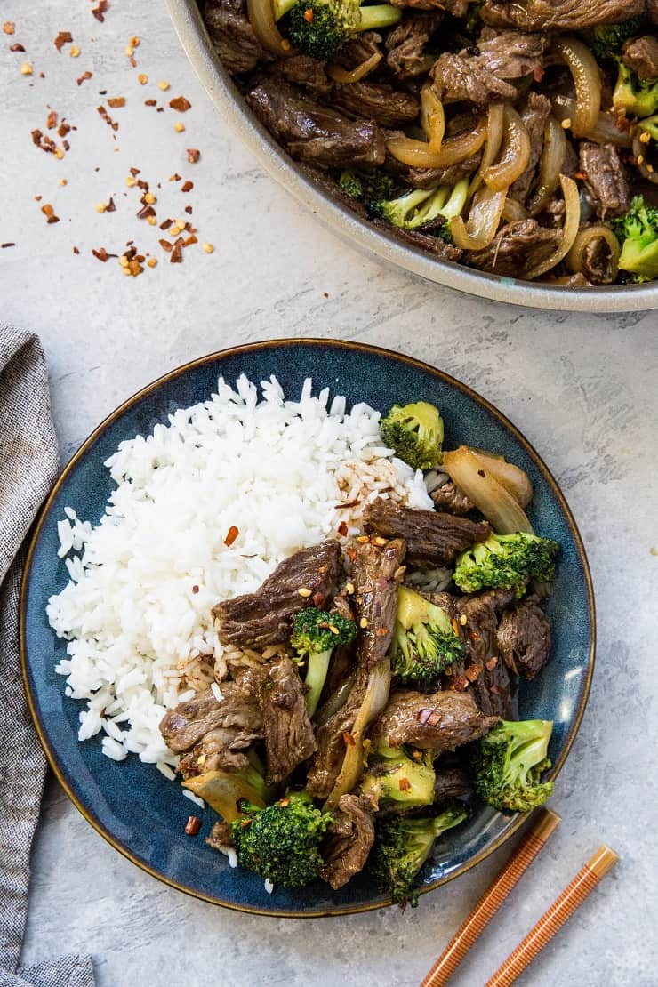 Paleo Broccoli Beef made in just 30 minutes in one skillet! This easy, clean recipe is easy to throw together any night of the week. | TheRoastedRoot.net #soyfree
