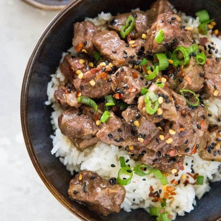 Pressure Cooker Paleo Korean Beef Bulgogi - an easy Korean beef recipe made soy-free and refined sugar-free   TheRoastedRoot.net