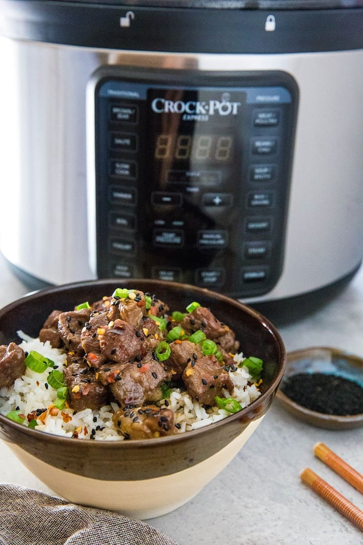 Serve Instant Pot Beef Bulgogi over white or brown rice