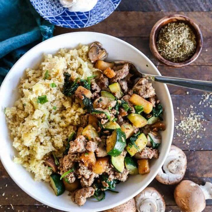 Ground Turkey Bowls with Cabbage Rice