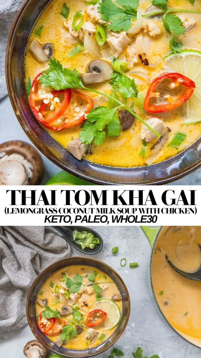 Thai Tom Kha Gai - Lemongrass ginger coconut milk soup with chicken and mushrooms - keto, paleo, whole30, healthy and delicious!