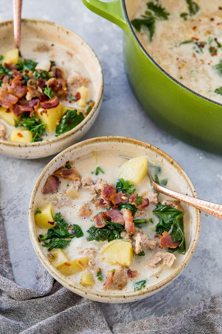 Paleo Zuppa Toscana (Tuscan Soup) made quickly and easy on the stove top, Instant Pot, or slow cooker | TheRoastedRoot.net