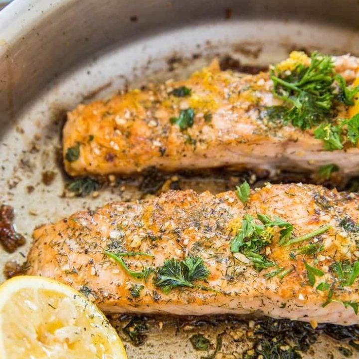 Garlic Lemon Herb Pan-Fried Salmon
