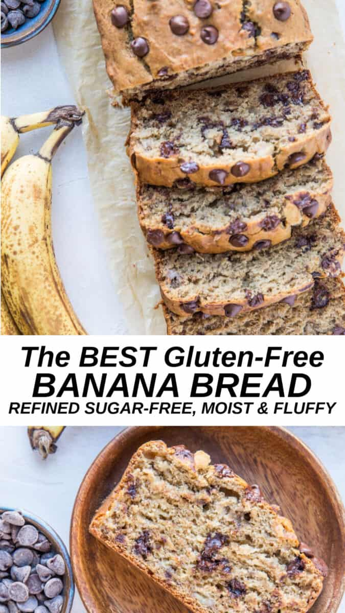 The BEST gluten-free banana bread recipe made with gluten-free flour blend and sweetened with coconut sugar. Add chocolate chips and/or chopped nuts to level up this already moist and fluffy dream bread.