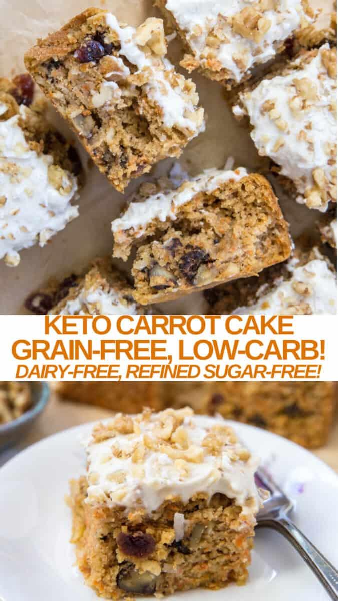 Keto Carrot Cake collage - grain-free, dairy-free, low-carb, sugar-free dessert recipe