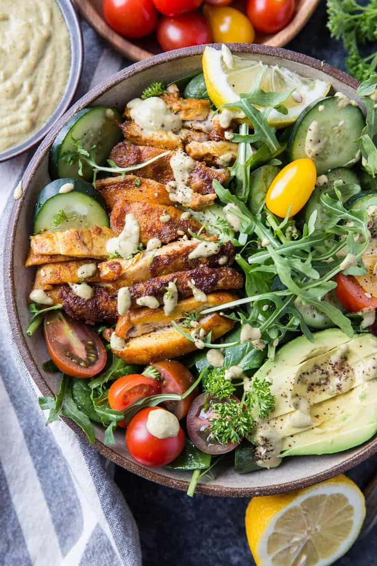 Crispy Mediterranean Chicken Salad with Lemon Herb Tahini Dressing - a delicious vibrant salad perfect for clean eating - paleo, whole30, keto, low-carb | TheRoastedRoot.net