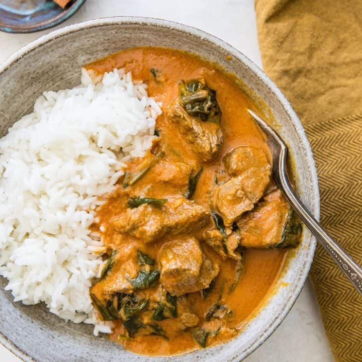Instant Pot Lamb Curry - an easy dairy-free Indian Lamb Curry recipe made quickly and easily in the pressure cooker   TheRoastedRoot.net