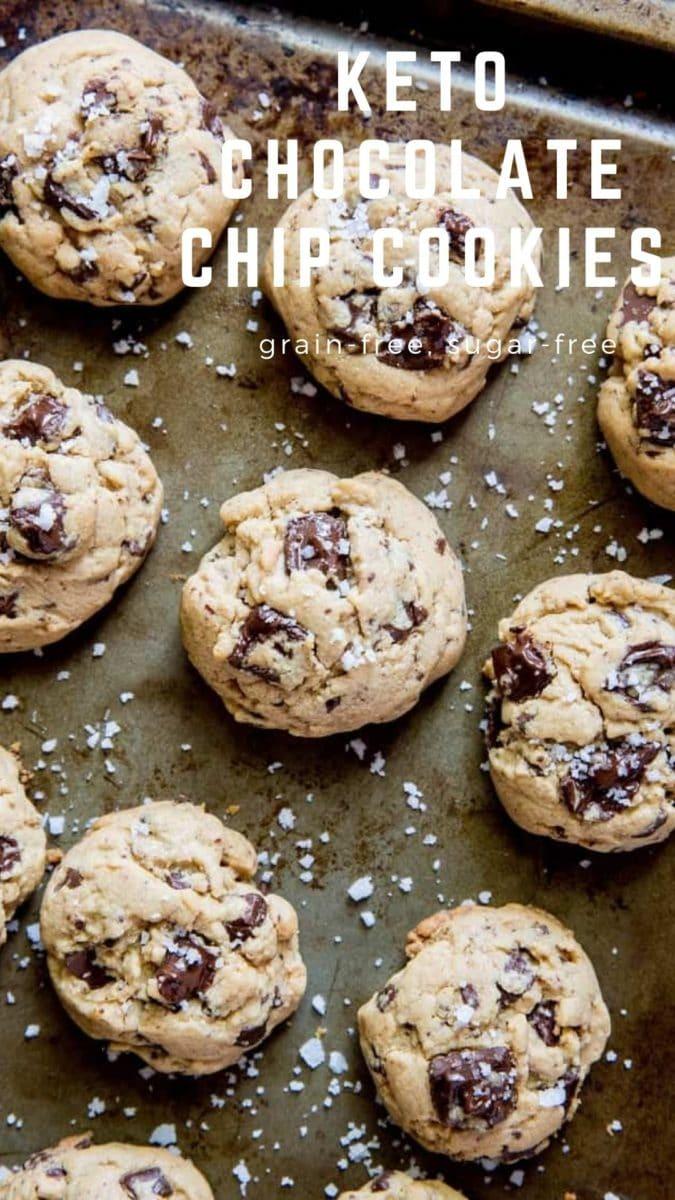 Keto Chocolate Chip Cookies - grain-free, sugar-free, low-carb cookie recipe