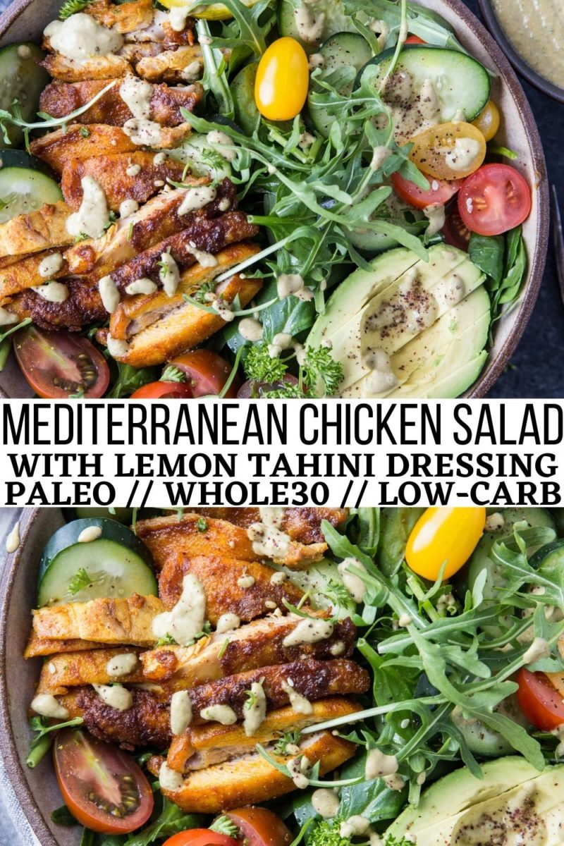 Mediterranean Chicken Salad with Lemon Herb Tahini Dressing, cherry tomatoes, avocado, cucumber, and more! A deliciously fresh and filling salad recipe!