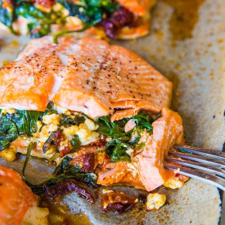 4-Ingredient Mediterranean Stuffed Salmon